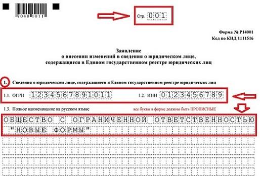 Образец заполнения формы р14001 в ворде